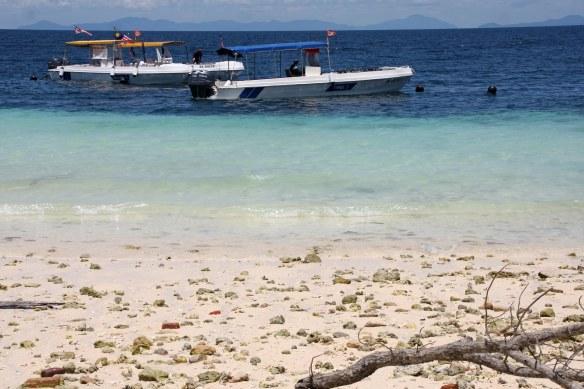Dive boats at beautiful Sipadan island