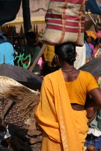 Woman shopping in Sanjay market, Jagdalpur