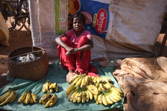 Jaitgiri market - girl selling bananas