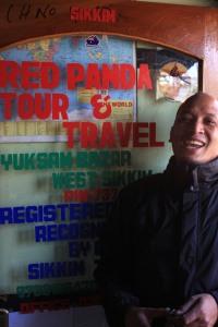 Red Panda in his office in Yuksom
