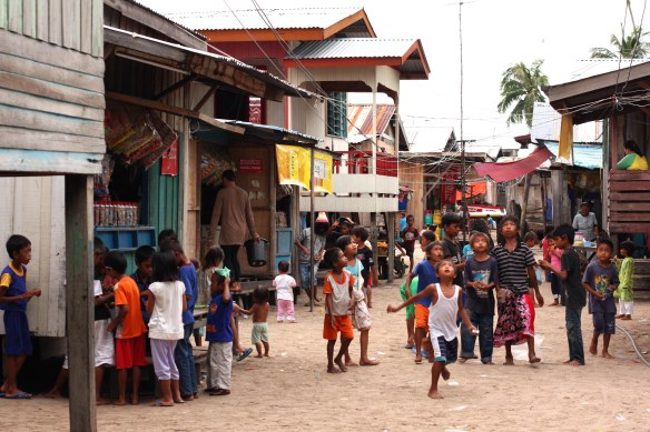 Some of the many children living on Mabul island