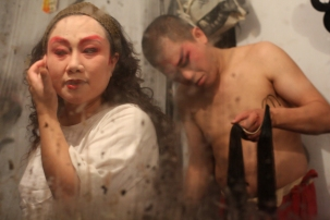 Opera performers getting ready (reflection), Chengdu, Sichuan