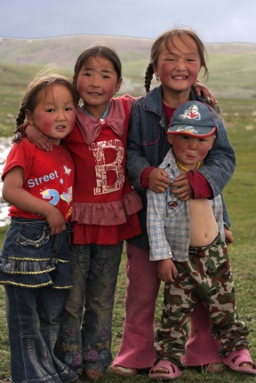 Nomad children living in the Naiman Nuur (8 lakes) area, Central Mongolia