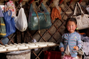Girl in a ger near Chandmani, West Mongolia