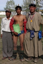Prize-giving for the Naadam wrestling, Chandmani, West Mongolia