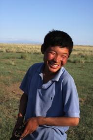 Boy living near Khar Us lake, West Mongolia