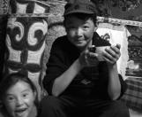Children in ger near Khoton lake, Altai Tavan Bogd National Park